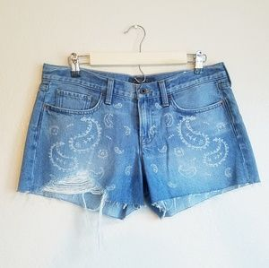 Lucky Brand Paisley Print Distress Shorts